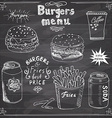 burger menu hand drawn sketch fastfood poster vector image
