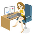 business woman feeling happy to surfing at office vector image vector image
