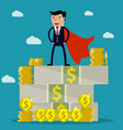 businessman standing on huge pile of money vector image