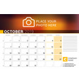 calendar for october 2019 design print template vector image vector image