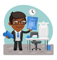 cartoon architect in office vector image