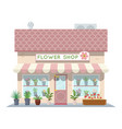 cartoon flower shop building green natural vector image
