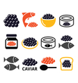 caviar roe fish eggs icons set vector image