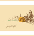 countryside peaceful life hand drawing old small vector image vector image