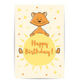 cute cartoon cat with sun in hands happy birthday vector image vector image