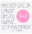 Decorative doodle alphabet Regular font vector image