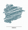 Doodle sketch of Andorra map vector image vector image