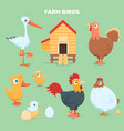 farm birds and coop vector image vector image