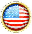 flag of america on round frame vector image vector image