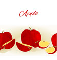 fruity border seamless background with red apple vector image vector image