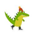 funny cartoon crocodile character skating wearing vector image vector image