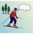 Girl skier on downhill vector image vector image