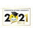 graduating class 2020 smile in academic cap vector image