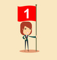 happy businesswoman with number one flag vector image vector image