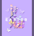 happy easter 3d paper cut spring rabbit craft card vector image vector image