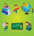 kid boy schoolboy doing school activities vector image vector image