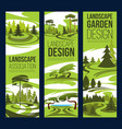 landscape design green tree and plant vector image vector image