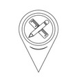 map pointer pencil with ruler icon vector image vector image