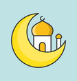 mosque and moon ramadan filled outline icon vector image vector image