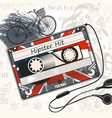 music background with old cassette vector image