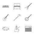 musical instruments set icons in outline style vector image vector image