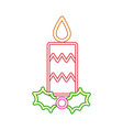 neon candle decoration merry christmas vector image vector image