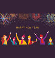 new year card with people cheering at fireworks vector image