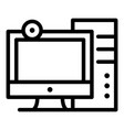 personal computer icon outline style vector image vector image