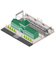 railway station platform and train isometric vector image