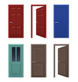 realistic doors open and closed apartment vector image vector image