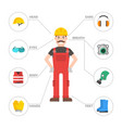 safety industrial man gear tools flat vector image vector image