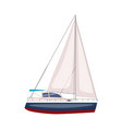 sailing boat floating on water surface vector image vector image
