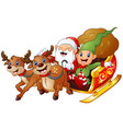 santa and elf cartoon a riding in sled sleigh and vector image vector image
