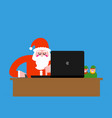 santa laptop working grandfather christmas and vector image vector image
