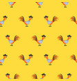 seamless pattern with cute roosters on yellow vector image