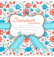 Summer vacation sticker on seamless pattern