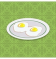 Two Fried Eggs on White Plate vector image vector image