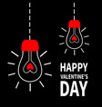 two light bulb shining hanging on dash line red vector image vector image
