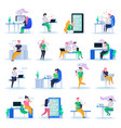 virtual love orthogonal icons vector image vector image