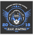 wingsuit flying base-jumping sport emblem vector image