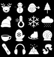 winter icons with black background vector image vector image