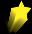 yellow star flying up in the dark vector image vector image