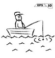 stick figure fisherman in boat on water hand vector image