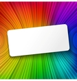 White paper banner on colorful striped background vector image