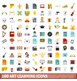 100 art learning icons set flat style vector image vector image
