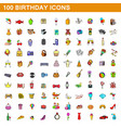 100 birthday icons set cartoon style vector image vector image