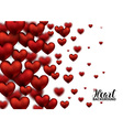 3D Realistic Red Hearts Background with Sweet vector image vector image