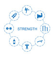 8 strength icons vector image vector image