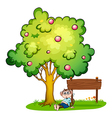 A monkey resting beside the empty signboard vector image vector image