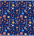 abstract meadow flowers on dark blue pattern vector image vector image